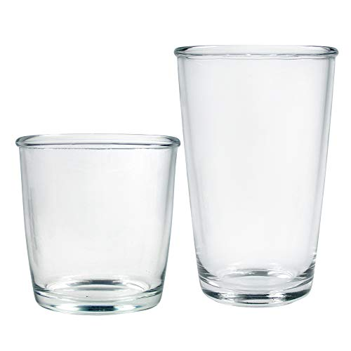 Luminarc N8770 Cocoon 16 Piece Tumbler Set, 8-16 Ounce Coolers & 8-14 Double Old Fashion Glass, 1, Clear