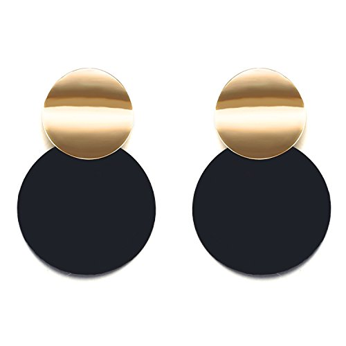 LILIE&WHITE Round Curved Drop Earrings With Radiant Golden Discs For - Drop Disc Round
