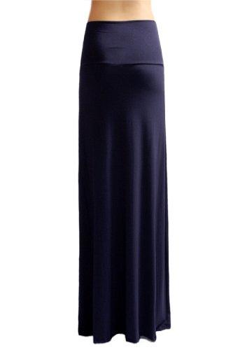 Azules Women'S Rayon Span Maxi Skirt - Navy S