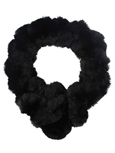 Black Winter Twisted Faux Fur Pull Thru Scarf