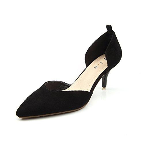 Les Pour Ol Heels Creux Profonde Fines Shoes Femmes Zhudj Black Bouche Fait Avec Chaussures Peu 4Ywxyd
