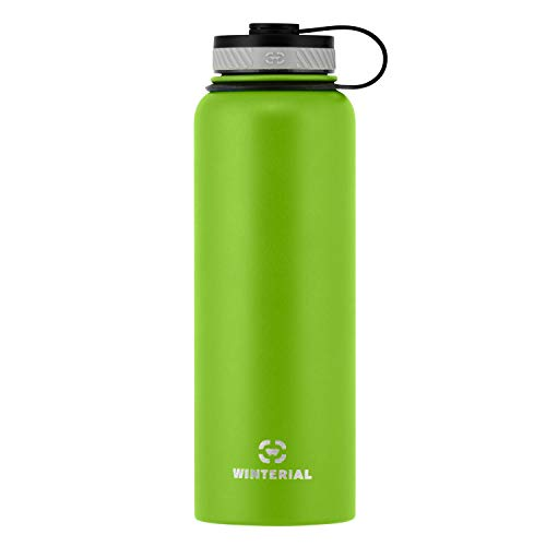 Winterial Insulated Water Bottle, 40-Ounce (oz), Double Walled Hot and Cold, Vacuum Sealed Thermos, Green