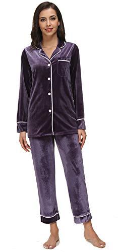 (Kiddom Womens Velvet Pajamas Set Loungewear Warm Fleece Winter Autumn Long Sleeve Sleepwear with Pockets Purple)