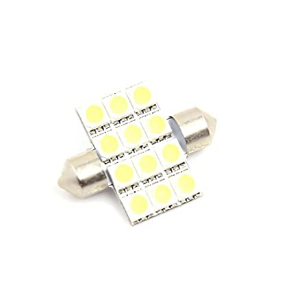 Amazon.com: eDealMax 34mm Blanco 5050 SMD 12 LED Interior bóveda del Adorno de la bombilla 12V: Automotive
