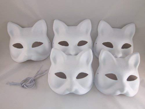 Nakimo Fox Mask DIY Paintable Cosplay Accessories Mask for Party Masquerade Costume Halloween, Pack of 5 -
