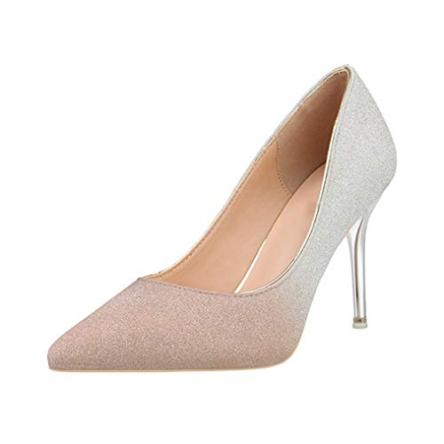 (Sam Carle Women's Pumps,Pointed-Toe Fashion Sequin High Heel Pink Gold Wedding Shoes)