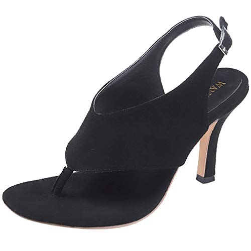 wrasf Fashion Women Summer Pumps Thong Sandals Stiletto High Heel Belt Buckle Shoes Black