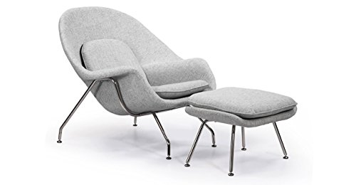 Kardiel Womb Chair & Ottoman, Dacite Retrospeck (Molded Fiberglass Lounge Chair)