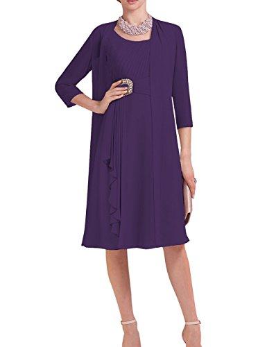 Bridal Mother Dress with Jacket Short 3/4 Sleeve 2 pcs Beaded Chiffon Plus Size Deep Purple ()