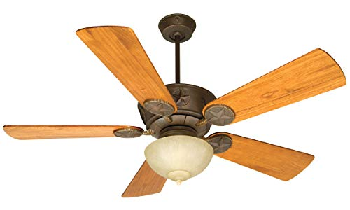 Indoor Ceiling Fans 2 Light Fixtures with Aged Bronze Textured Finish Metal Glass Material LED 11