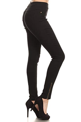 (Women's Skinny Strechy Pull-On Ankle Zip Jeggings Black Small)