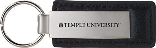(Temple University - Leather and Metal Keychain - Black )
