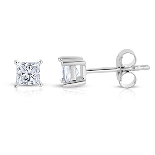 14k White Gold Princess-cut Diamond Solitaire Stud Earrings (1/3 cttw, I-J, I1-I2)