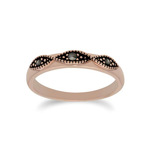 Gemondo Women Rose Gold Plated Sterling Silver Marcasite Twist Design Ring