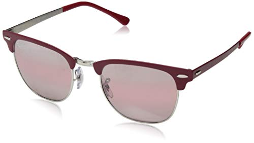 Ray-Ban RB3716 Clubmaster Metal Square Sunglasses, Matte Burgundy on Silver/Photochromic Purple Gradient Mirror, 51 mm