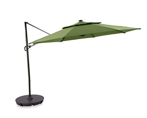 Outdoor Patio Cantilever Umbrella 11 Foot Round Canopy With Solar Powered Lights Includes Base And Storage Cover (Green)