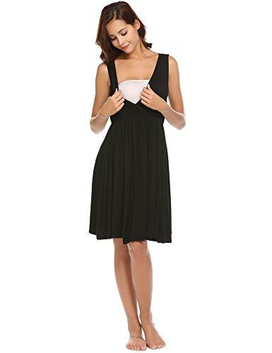 Ekouaer Hospital Nightgown Womens Sleeveless Maternity Nursing Sleepwear Black S