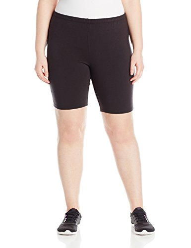 (Just My Size Women's Plus-Size Stretch Jersey Bike Short, Black, 2X )
