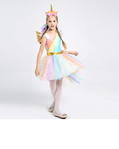 Pastel Rainbow Unicorn Fairy Costume with Wings and Headpiece with Free Printable Coloring Page -