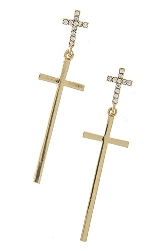 KARMAS CANVAS DOUBLE CROSS ORNATE EARRINGS (Gold) (Eye Of The Tiger Dance Costume)