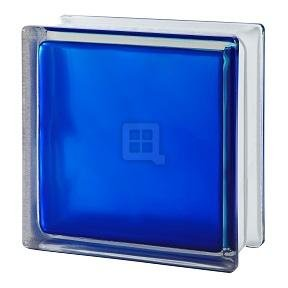 Quality Glass Block 7.5 x 7.5 x 3 Brilly Wave Blue 100 Color Glass Block by Quality Glass Block