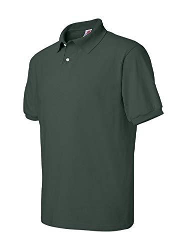 (Hanes Men's 5.2 oz Hanes STEDMAN Blended Jersey Polo, XL-Deep Forest)