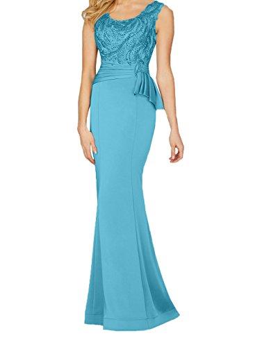 Damen Festlichkleider Ballkleider Charmant Spitze Perlen Blau Etuikleider Meerjungfrau Abendkleider mit Chiffon Lang 6dqqwfX