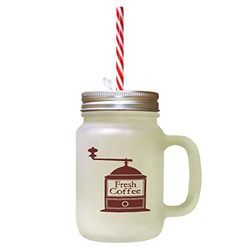 Maroon Fresh Coffee Grinder Frosted Glass Mason Jar With Straw