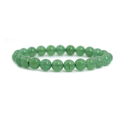 Green Man Silver Pendant - Natural Green Aventurine Gemstone Bracelet 7 inch Stretchy Chakra Gems Stones Healing Crystal Great Gifts (Unisex) GB8-22