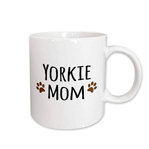 3dRose mug_154219_2 Yorkie Dog Mom Yorkshire Terrier Doggie by Breed Doggy Lover Brown Paw Prints Mama Pet Owner Ceramic Mug, 15-Ounce