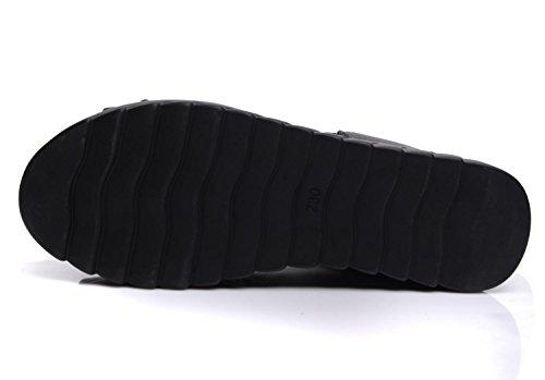 La six Gruesas De 7 Boca Sandalias Torta 5 Verano Plano De Cm 36 De De Fondo De Pino Cool Zapatos Mujeres Botas Pescado KHSKX Zapatos Negro Cuero Fondo Thirty Tacones CW5SUUn