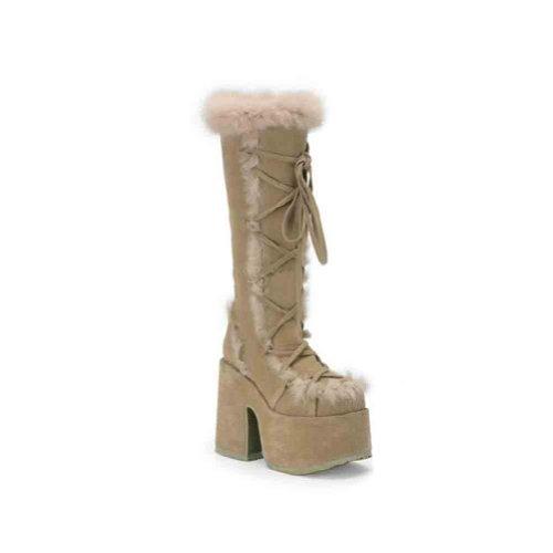 Demonia By Pleaser Donna Camel-311 Boot Cammello Veggie Suede
