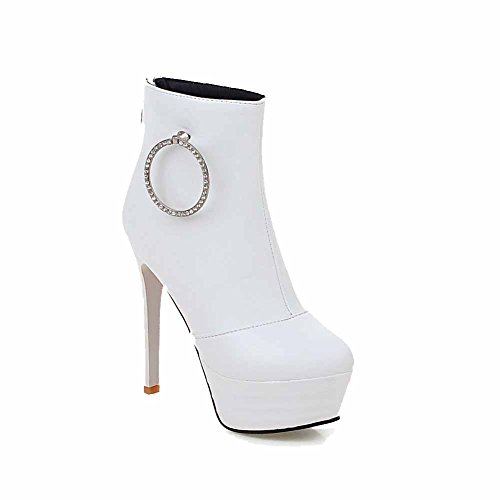 High AgooLar Solide Heels PU Top Weiß Stiefel Frauen Zipper Low TxwpxYFr