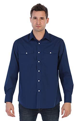 Gioberti Men's Solid Long Sleeve Western Shirt, Navy, 2X Large