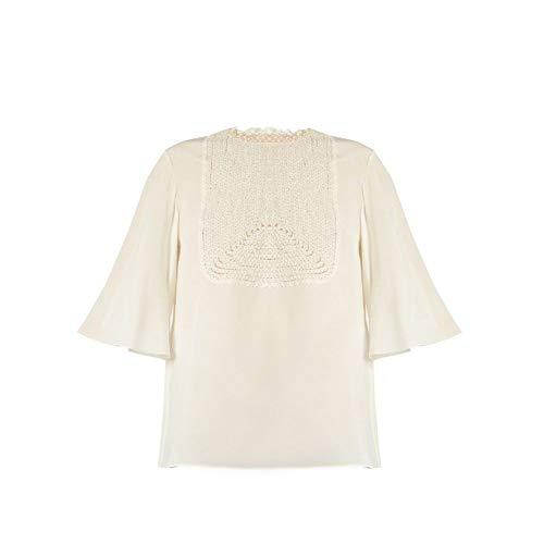 仮装変換レーザ(ヴァレンティノ) Valentino レディース トップス Lace-bib silk crepe de Chine top [並行輸入品]