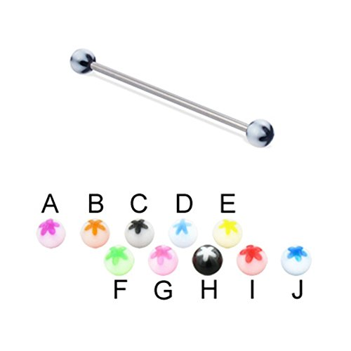(MsPiercing Long Barbell (Industrial Barbell) With Acrylic Flower Balls, 14 Ga, Ball Size:3/16
