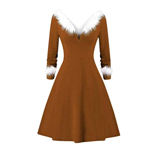 SEXYTOP Women Christmas Faux-Plush Trim Solid Long Sleeve Knit Ladies Dress Sexy V Collar Panel Vintage Party Dress