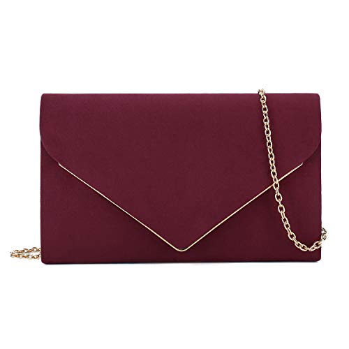 Charming Tailor Faux Suede Clutch Bag Elegant Metal Binding Evening Bag for Wedding/Prom/Black-tie Events (Burgundy)
