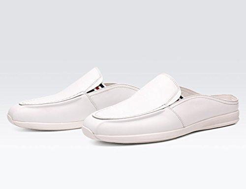 Per cura uk5 Scarpe Pantofole Hwf colore Semi Uomo Eu38 Casual In Estate Pelle Dimensioni Lounger 5 Nero Bianca Da XRxzaq