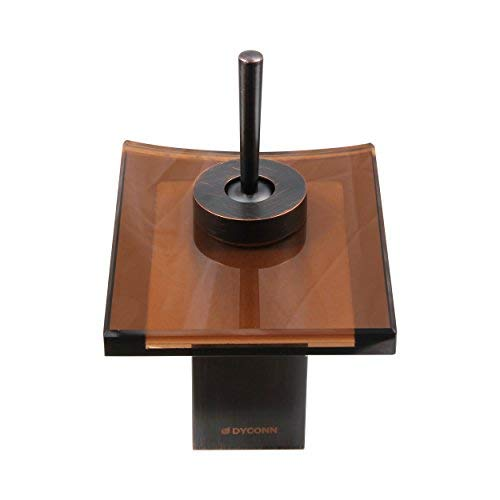 Oil Rubbed Bronze AOK Group Inc Dyconn Faucet WF003-B2ORB Sable Bathroom Waterfall Faucet with Solid Brown Glass Head//Spout