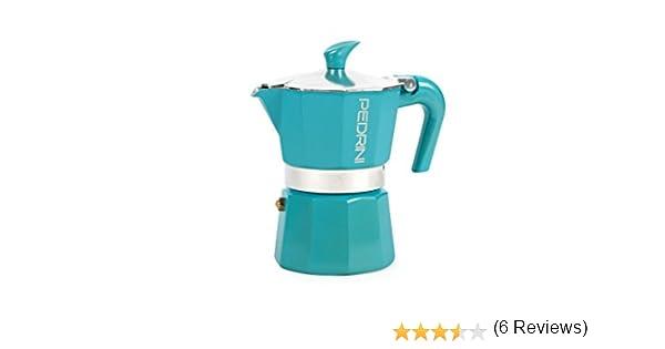 PEDRINI Glitter Cafetera, Aluminio Lacado, Azul, 3 Tazas: Amazon ...