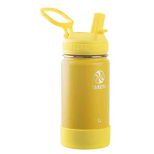 Takeya 51137 Actives Kids Insulated Stainless Steel Bottle w/Straw Lid, 14oz, Sunflower