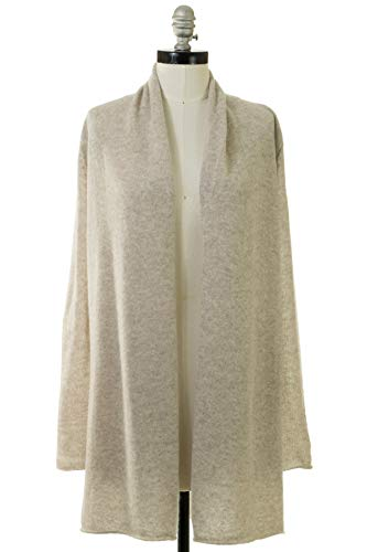 White + Warren Women's Essential Trapeze Robe, Sand Wisp Heather, Medium