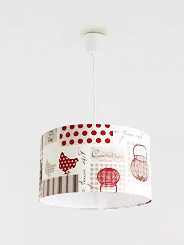 Lustre suspension plafonnier abat-jour poule rouge - cuisine de campagne- ferme rustique Luminaire diamètre personnalisé cylindre rond idée cadeau anniversaire décoration fête des mères