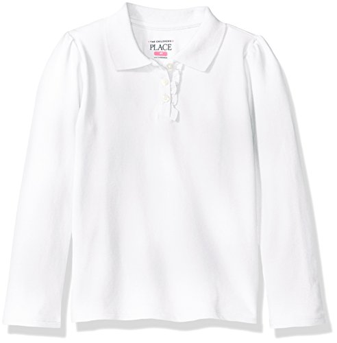 (The Children's Place Baby Girls' Toddler Uniform Long Sleeve Polo, White 43576, 4T)