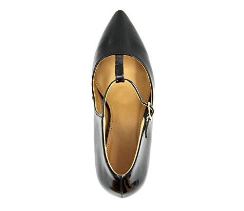 SHT30 * Escarpins Bout Pointu Vernis Uni Chic Classique avec Lanière Centrale et Boucle - Mode Femme (Noir)