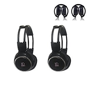 XINDA 2018 Updated Car Headset, 2 Packs Wireless Infrared Car Headset Double Channel Foldable Vechile IR Headphones for Car Entaintment (Wireless Headphones Ir Dual Channel)