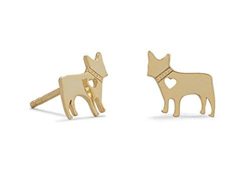 cm 14k Gold Plated 925 Sterling Silver Heart Dog Earrings French Bulldog Boston Terrier (Silver Ring Sterling Bulldog)