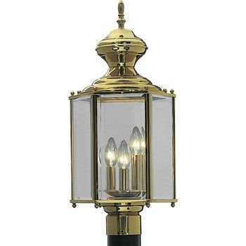 Progress Lighting P5432-10 Hexagonal Post Lantern with Clear Beveled Glass, Polished - Large Post Polished Brass Outdoor
