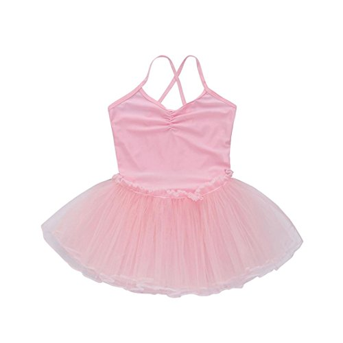 FEITONG Girls Ballet Dress Tutu Leotard Dance Gymnastics Strap Clothes Outfits (Pink, ()